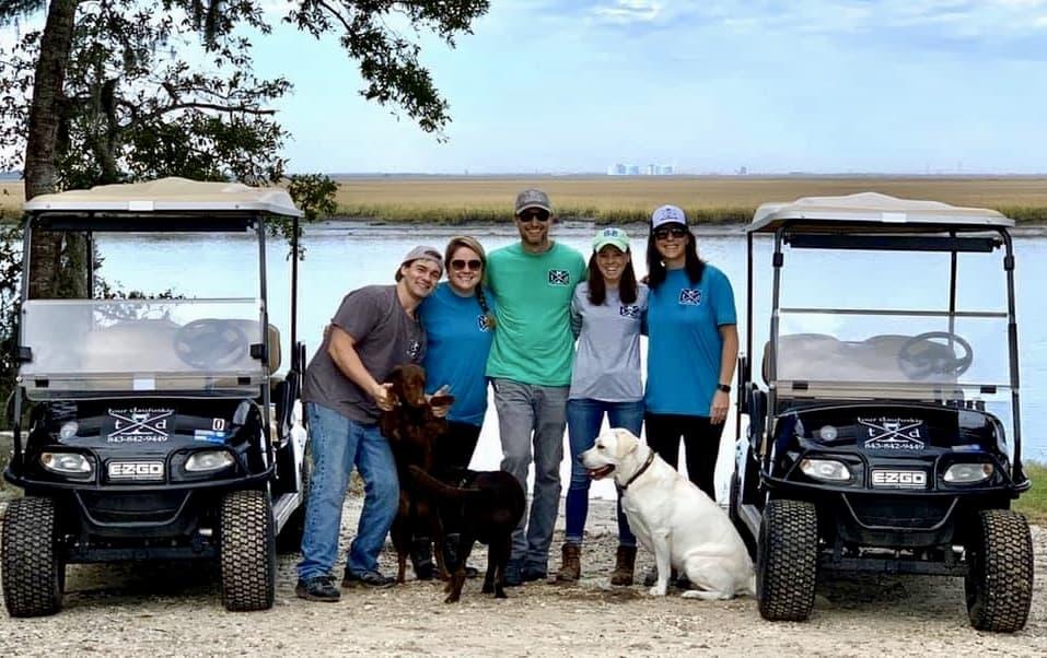 Meet the team behind Tour Daufuskie. Kade, Caroline, Chase, Anna, Laura Leigh. Scout, Mae and Mellie are our four-legged team.